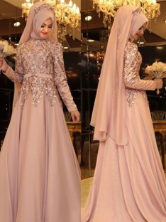 A-Line High Neck Long Sleeves Floor-Length Beading Chiffon Dress