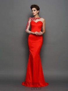 High Neck Long Sleeves Elastic Woven Satin Embroidery Court Train Dress