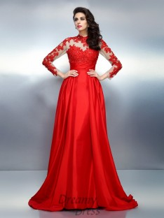 High Neck Long Sleeves Sweep/Brush Train Satin Dress