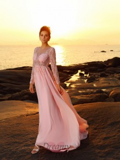 Long Sleeves Bateau Sweep/Brush Train Chiffon Dress