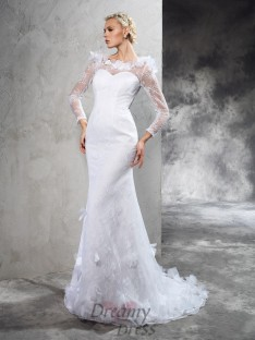 Long Sleeves Court Train Satin Wedding Dress