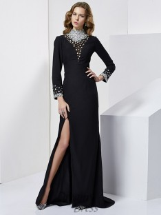 Long Sleeves High Neck Sweep/Brush Train Chiffon Dress