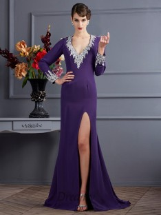 Long Sleeves V-neck Chiffon Sweep/Brush Train Dress