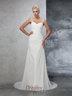 Mermaid Straps Chiffon Court Train Ruched Wedding Dress