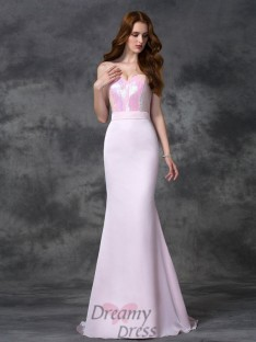 Mermaid Sweetheart Floor-length Satin Chiffon Bridesmaid Dress