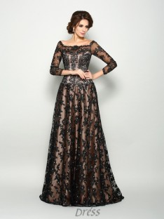 Off-the-Shoulder 3/4 Sleeves Satin Lace Court Train Dress
