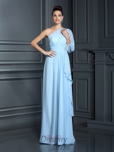 One-Shoulder 3/4 Sleeves Chiffon Long Dress