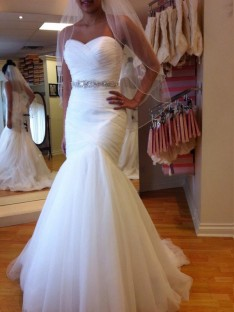 Trumpet/Mermaid Sleeveless Sweetheart Floor-Length Tulle Wedding Dress