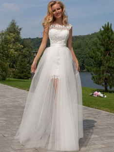 Sheath/Column Sleeveless Lace Scoop Floor-Length Tulle Wedding Dress
