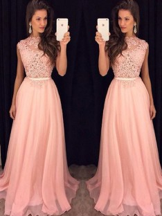A-Line/Princess High Neck Sleeveless Chiffon Floor-Length Dresses