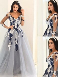 A-Line/Princess V-Neck Long Sleeves Tulle Floor-Length Dresses