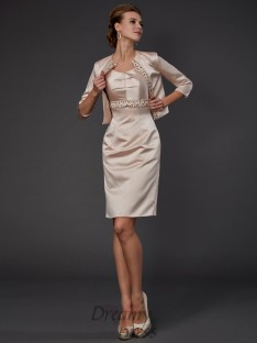 Satin Knee-Length Square Mother Of The Bride Dress