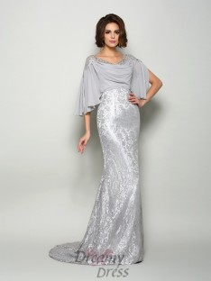 Scoop 1/2 Sleeves Chiffon Lace Long Mother of the Bride Dress