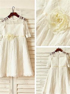 Scoop 3/4 Sleeves Ankle-Length Lace Flower Girl Dress