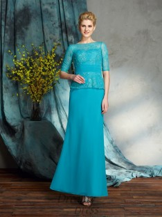 Sheath/Column Bateau Chiffon Long Mother of the Bride Dress