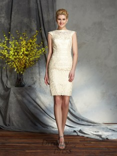 Sheath/Column Bateau Short Mother of the Bride Dress