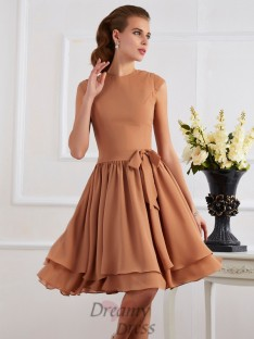 Sheath/Column Chiffon High Neck Knee-Length Bridesmaid Dress