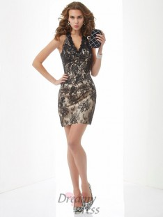 Sheath/Column Halter Lace Short/Mini Dress