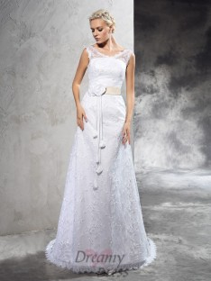 Sheath/Column Hand-Made Flower Court Train Satin Wedding Dress