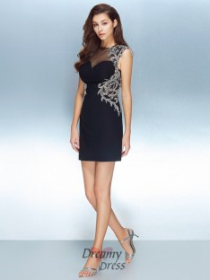 Sheath/Column Jewel Short Sleeves Net Short Dress with Crystal