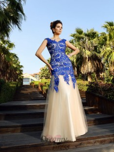 Sheath/Column Lace Floor-Length Net Dress