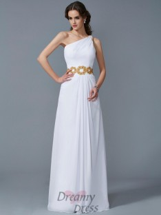 Sheath/Column One-Shoulder Chiffon Floor-Length Dress