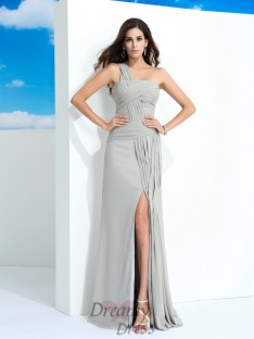 Sheath/Column One-Shoulder Chiffon Long Dress