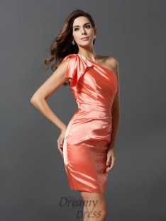 Sheath/Column One-Shoulder Elastic Woven Satin Short/Mini Bridesmaid Dress