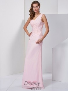 Sheath/Column One-Shoulder Floor-Length Chiffon Dress