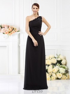 Sheath/Column One-Shoulder Floor-Length Satin Bridesmaid Dress