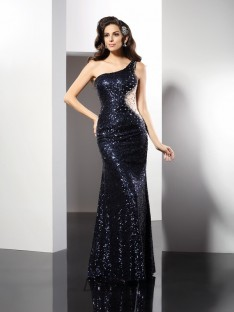Sheath/Column One-Shoulder Floor-Length Sequins Dress