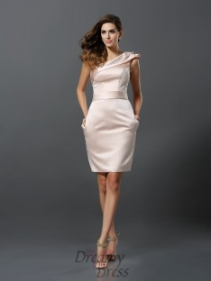 Sheath/Column One-Shoulder Knee-Length Satin Dress