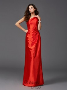 Sheath/Column One-Shoulder Long Bridesmaid Dress