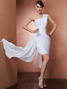 Sheath/Column One-Shoulder Pleats Chiffon Short/Mini Dress