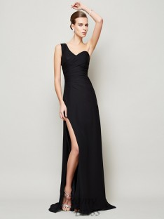 Sheath/Column One-Shoulder Pleats Chiffon Sweep/Brush Train Dress