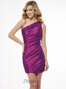 Sheath/Column One-Shoulder Ruched Taffeta Short/Mini Dress