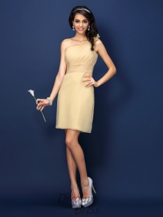 Sheath/Column One-Shoulder Short/Mini Chiffon Bridesmaid Dress