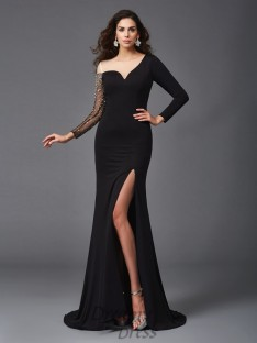 Sheath/Column Scoop 3/4 Sleeves Sweep/Brush Train Spandex Dress