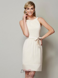 Sheath/Column Scoop Knee-Length Chiffon Bridesmaid Dress