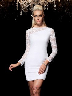 Sheath/Column Scoop Long Sleeves Lace Cocktail Dress
