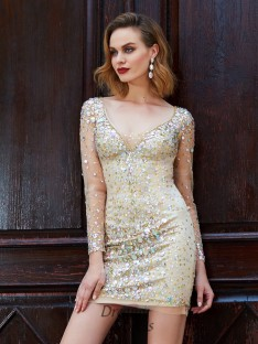 Sheath/Column Scoop Long Sleeves Net Short Dress with Rhinestone