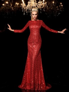 Sheath/Column Scoop Long Sleeves Sequin Sweep/Brush Train Sequins Dress