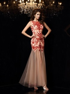 Sheath/Column Scoop Satin Floor-Length Dress