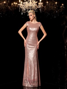 Sheath/Column Scoop Sequin Floor-Length Sequins Dress