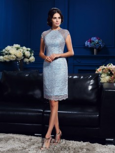 Sheath/Column Scoop Short Sleeves Short Satin Mother Of The Bride Dress