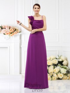 Sheath/Column Spaghetti Straps Floor-Length Chiffon Bridesmaid Dress