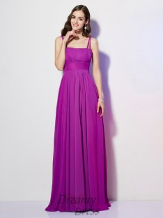 Sheath/Column Spaghetti Straps Pleats Chiffon Floor-Length Dress