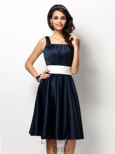 Sheath/Column Square Knee-Length Satin Bridesmaid Dress