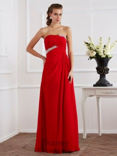 Sheath/Column Strapless Chiffon Floor-Length Long Dress