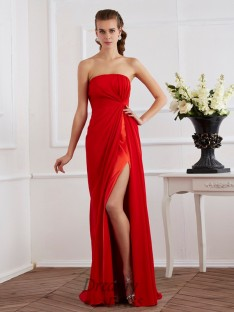 Sheath/Column Strapless Chiffon Floor-Length Pleats Dress